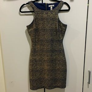 Navy Blue and Gold Bodycon Dress